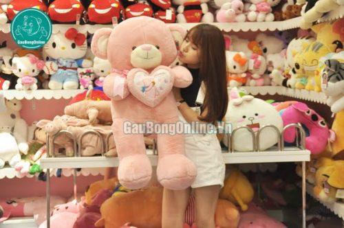 gấu teddy ôm tim cỡ vừa