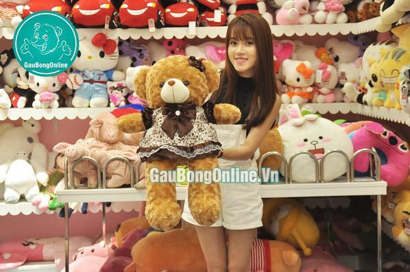 teddy giá rẻ mặc váy nâu