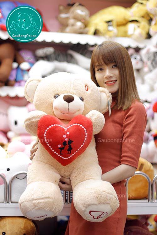 Teddy Ôm Tim Đỏ 80cm
