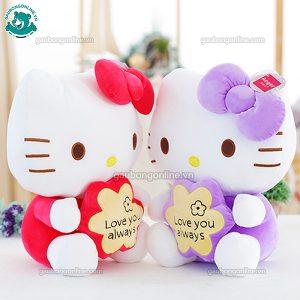 Gấu Bông Kitty Ôm Hoa