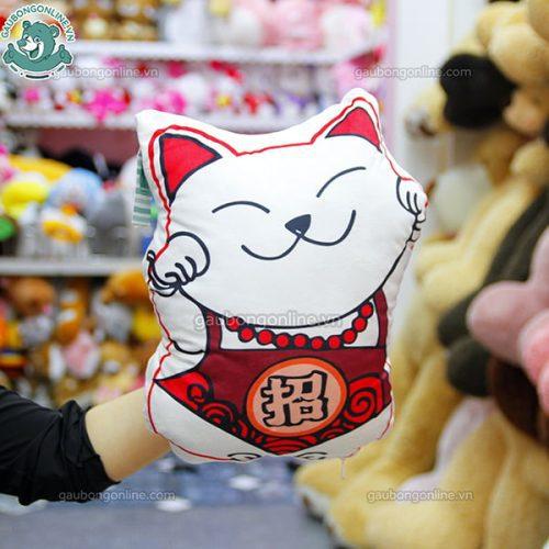 Gối Mèo Trắng Thần Tài Bông