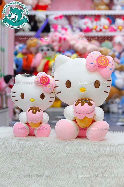 Gấu Bông Kitty Ôm Kem