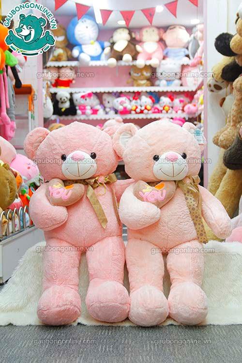 Gấu Bông Teddy Tim Lệch Nơ Hoa