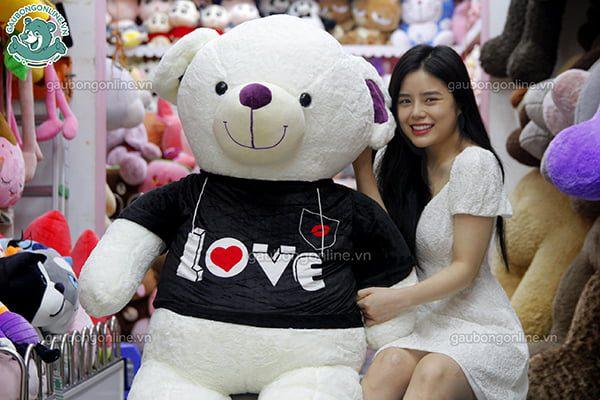 Gấu Bông Teddy Áo Đen Love 1m8