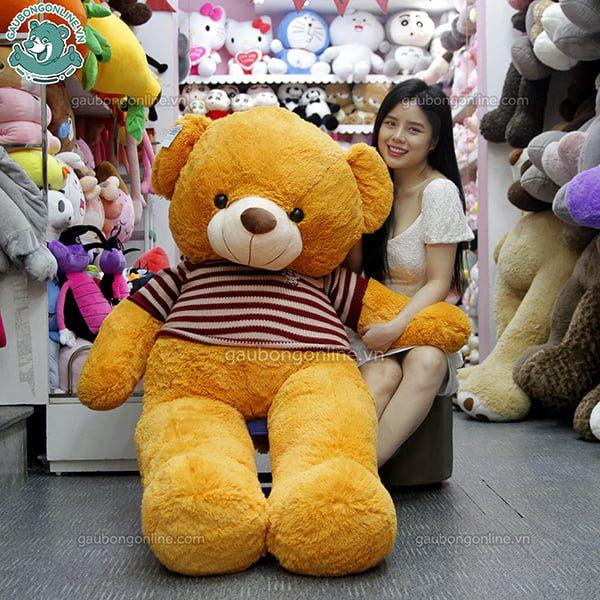 Gấu Bông Teddy Nâu Nhập Áo Len 1m7