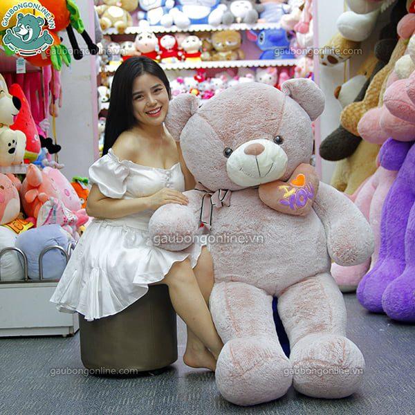 Gấu Bông Teddy Ôm Tim Lệch 1m6