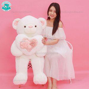 Gấu Bông Teddy Ôm Tim Hoa