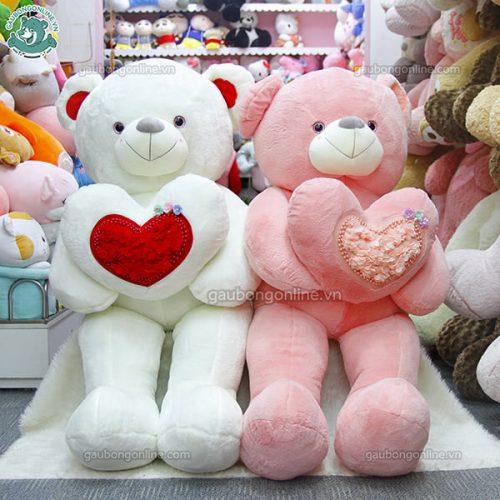 Gấu Bông Teddy Ôm Tim Hoa Đại