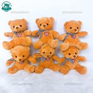 Gấu Bông Teddy Khăn Tim Kẻ