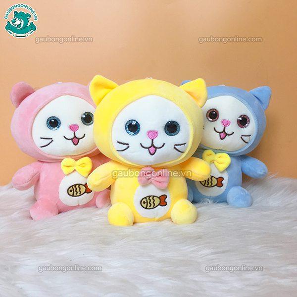 Gấu Nhỏ Mèo Thêu Cá Bông