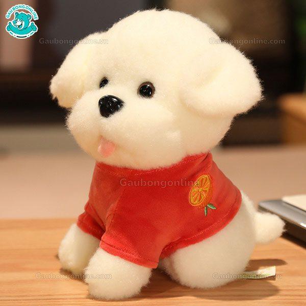 Chó Trắng Bông Áo Thêu Quả