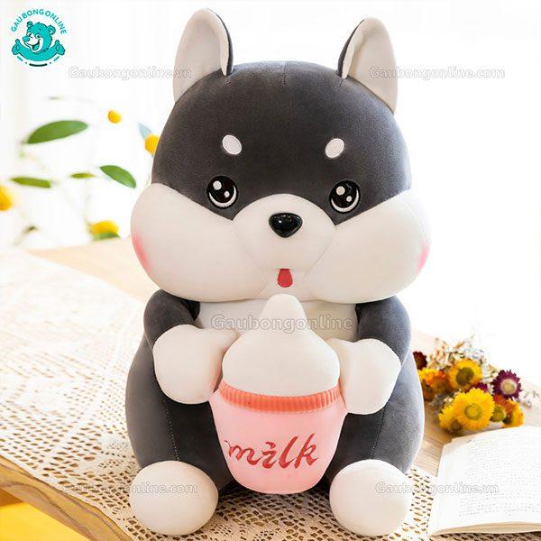 Chó Xám Bông Ôm Bình Sữa