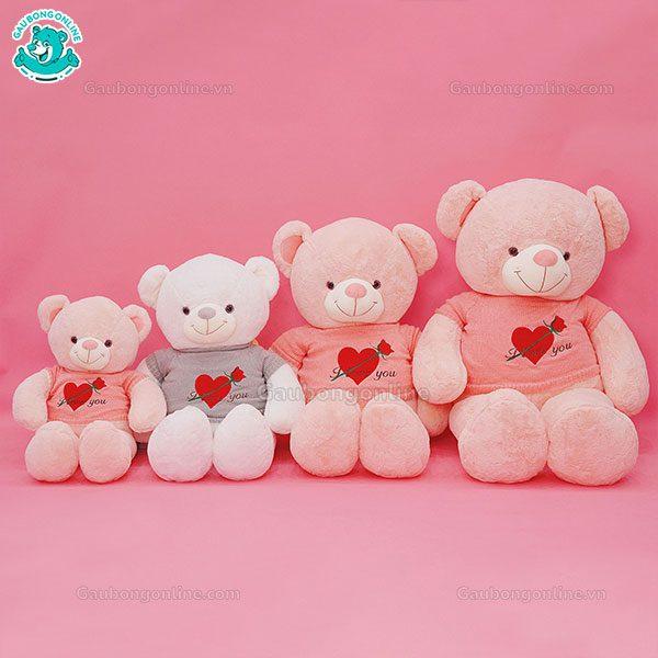 Gấu Bông Teddy Áo Tim Hoa