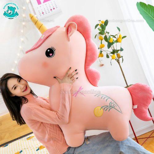 Unicorn Bông Ngồi Thêu Hoa (Big Size)